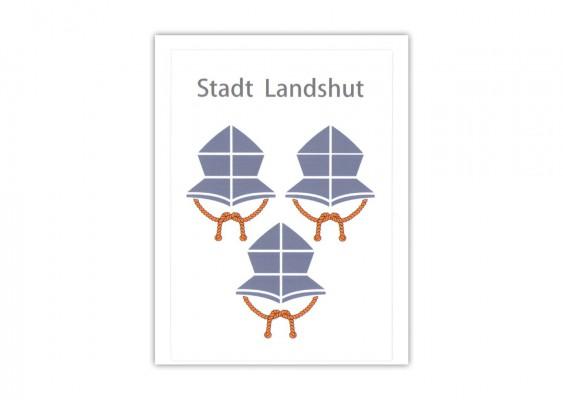 Aufkleber Landshuter 3 Helme Wappen